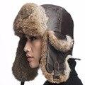 Ursfur ushanka aviador del sombrero de cuero con piel de conejo real sombrero grande tamaño Gorro de Piel con Raabbit Real de Piel de 2 colores para elegir