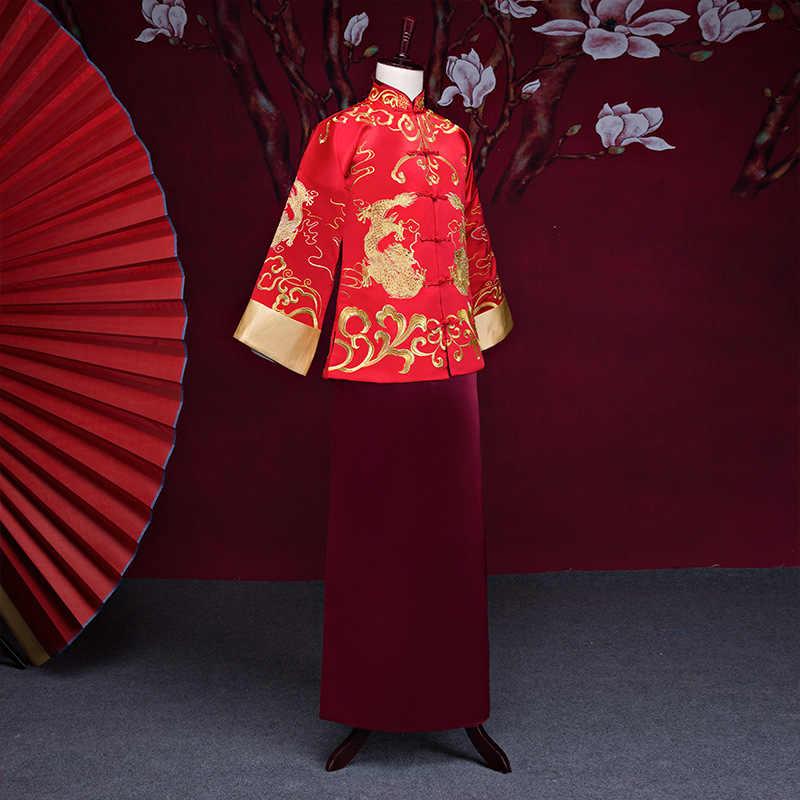 新到着男性チャイナ中国風の衣装新郎ドレスジャケットロングガウン繁体字中国語ウェディングドレス男性