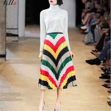 Organ pleated skirt 2019 spring  summer new womens fashion rainbow color gradient satin a word elegant wild