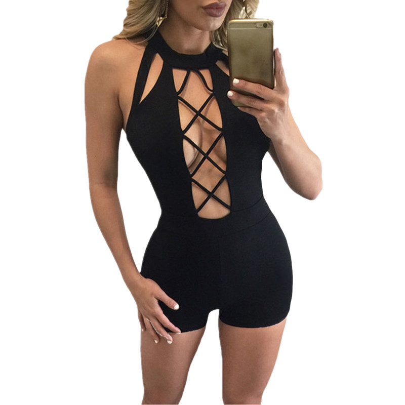 0fbfcacd2548 Cfanny 2016 Rompers Womens Jumpsuit Black Baby Doll Short Stretchy Romper  Bodycon Elegant Jumpsuit Sexy Summer Lace Up Playsuit