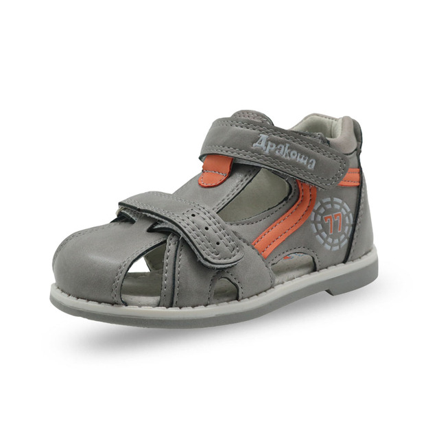 Apakowa 2019 summer kids shoes brand closed toe toddler boys sandals orthopedic sport pu leather baby boys sandals shoes 4