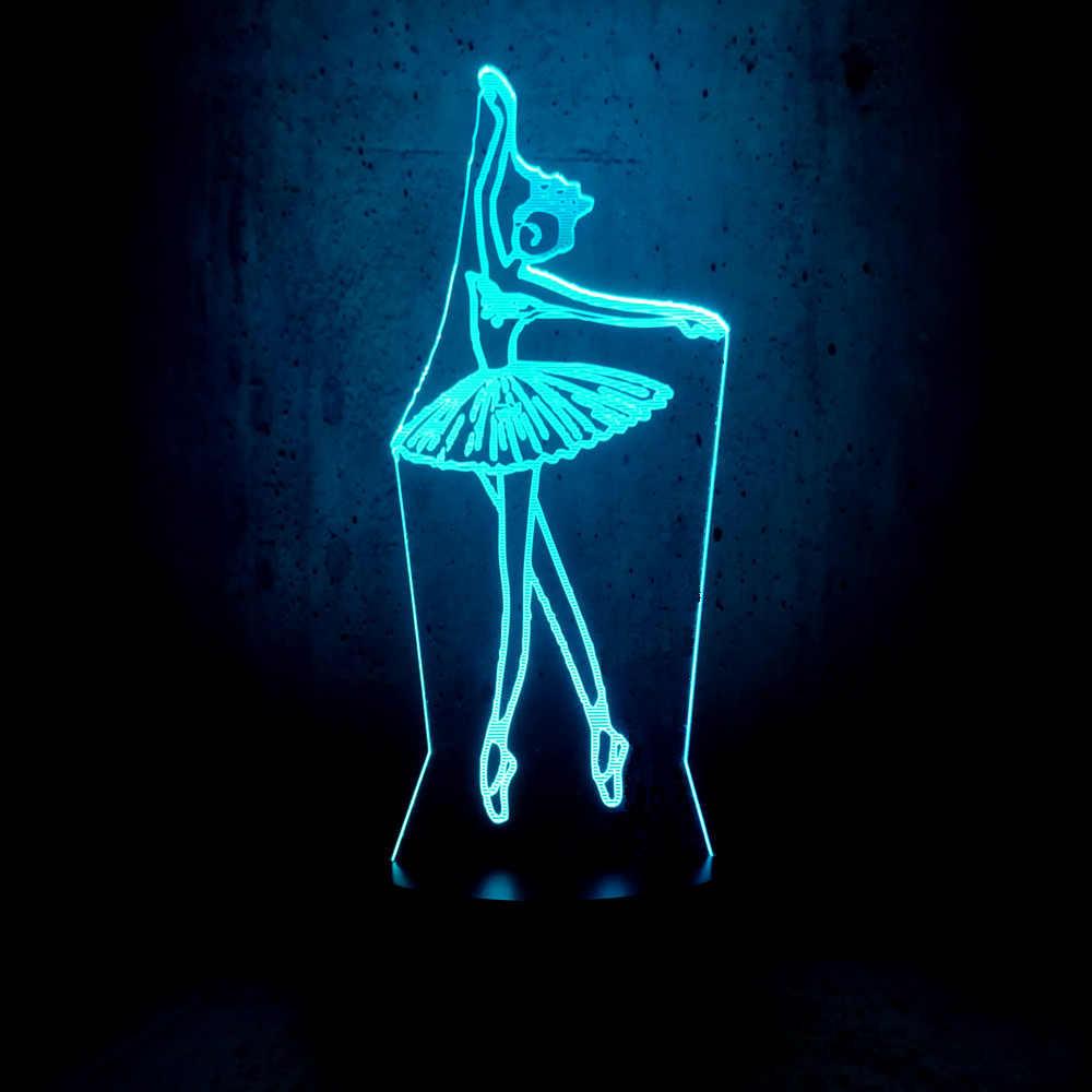 Balletto di danza HA CONDOTTO LA luce di notte della ragazza di dancing alone Messo piede colorato lampade di illuminazione luna lampadina ragazze stanza dei bambini decor bambini regali