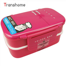 TRANSHOME New Plastic Food Container Creative Double Lunch Box Ruled Large Capacity Bento Box Cutlery Dinnerware