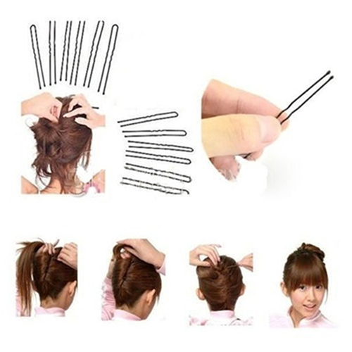 50Pcs Womens Invisible Flat Top Waved Pins Grips Hair Clips Salon Barrettes