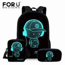 цены FORUDESIGNS Luminous Printing School Bag Sets Kids School Bookbags Cool 3D Schoolbag for Teenager Girls Children Mochila Escolar