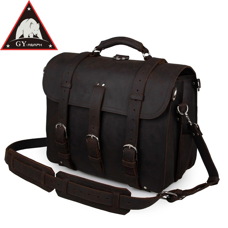 купить ANAPH Crazy Horse Tote Bag For Men, Full Grain Leather Thick Cowhide Office Executive Durable Briefcases Fit 17