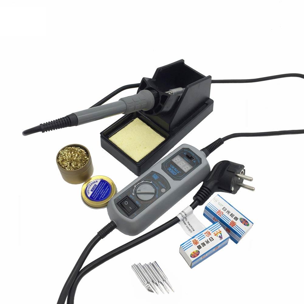 Original haute qualité 220 V/110 V YIHUA 908D fer à souder température réglable soudage électrique fer à souder + 5 embouts + support