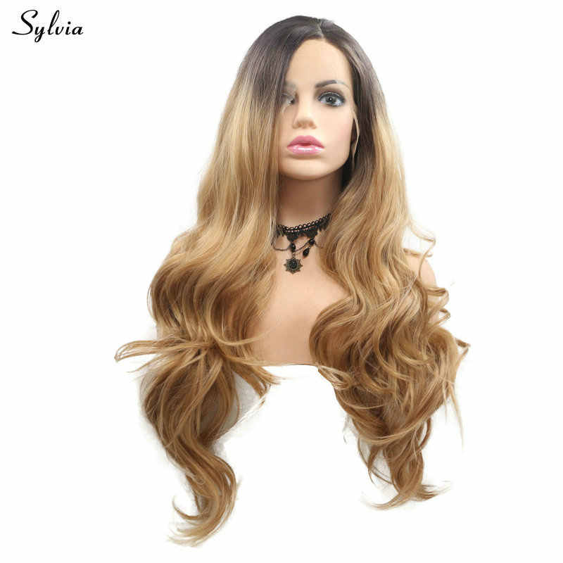 Sylvia Drag Queen Hair Blonde Wig with Brown Roots Two Tone Color High Temperature Long Hair Body Wave Synthetic Lace Front Wig