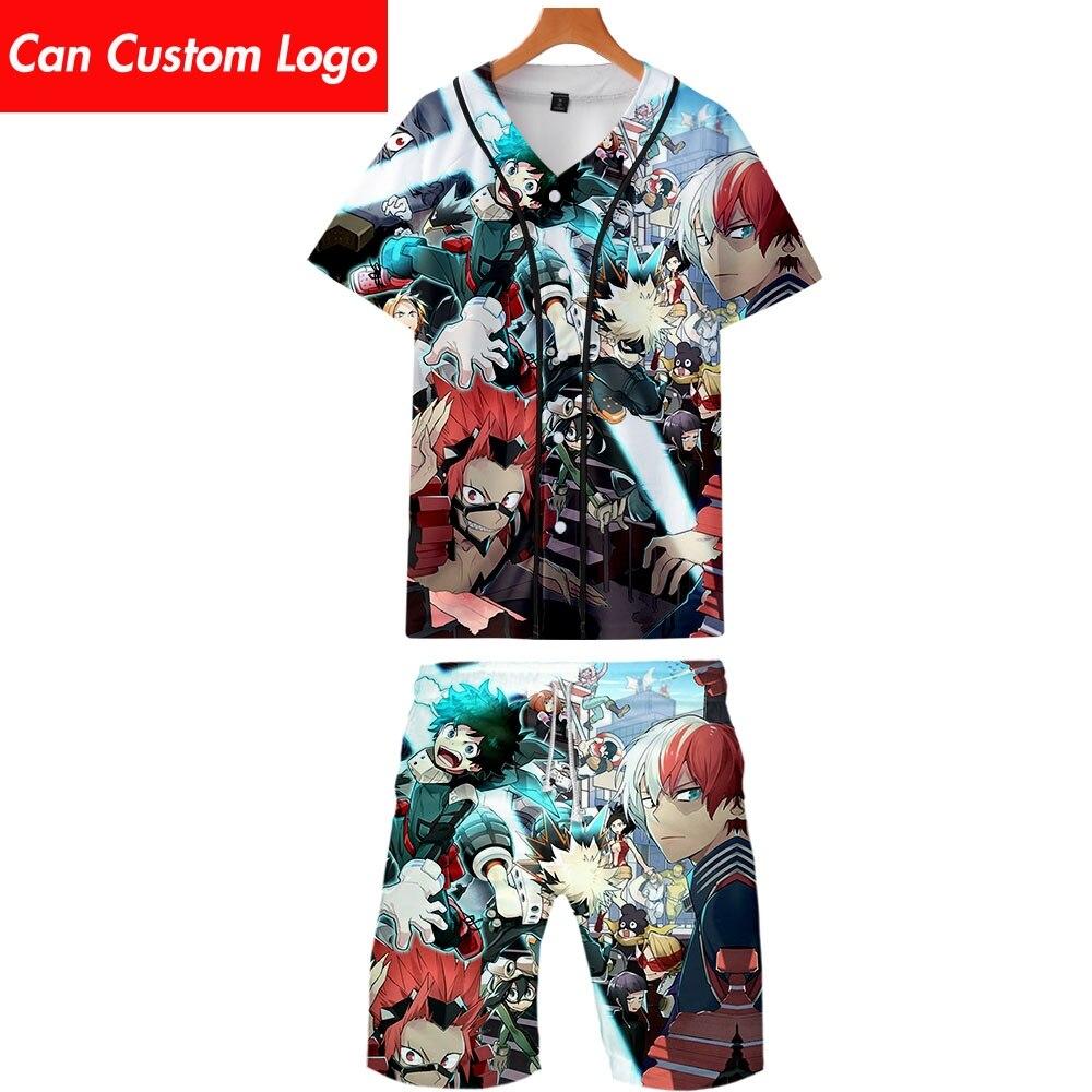 2019 My Hero Academia Two Piece Set Jackets And Shorts Kpop Fashion New Brand Cool Print Baseball Jacket Set For Men Streetwear