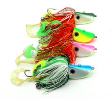 HENGJIA 4pcs big lead head metal jigs buzzbaits soft fishing baits octopus squid hook fishing lures wobble pesca fishing tackles