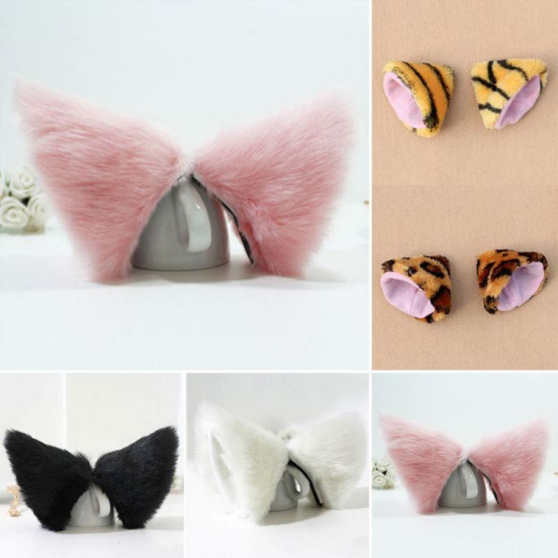 Night Party Club Ball Wearing Deacorate Cat Fox Fur Ear Pattern Hair Clip Bell cosplay party cat fox long fur ears neko costume hair clip halloween orecchiette y103