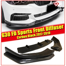 for BMW 5 Series G30  FD Style Carbon Fiber Black Front Bumper Lip Splitters Diffuser 520i 530i 540i Sports Front Diffuser 2017+ цена и фото