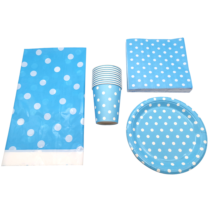 61pcs lot Birthday Tablecloth light blue polka dots Theme Party Plates Decorate Cups Kids Favors Tableware Baby Shower Napkins in Disposable Party Tableware from Home Garden