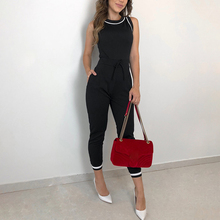 2020 Summer Women's Fashion Elegant Black Sleeveless Slim Fit Romper Ladies Contrast Binding Tie Waist Casual Slinky Jumpsuit rainbow patch contrast binding halter romper