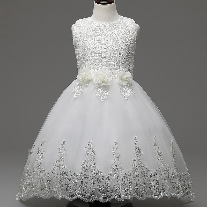Fashion Sequines Lace Flower Wedding Dresses for Girls Kids Sleeveless Bow Princess Formal Party Dress Children Age 12 New 2017 kids dresses for girls lace flower girl dress 2017 new princess party wedding dress fashion baby formal evening children clothes