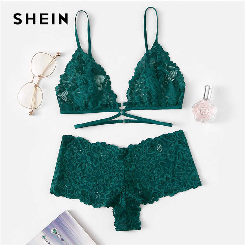 a41b236b6f6c SHEIN Green Sexy Floral Lace Lingerie Set Women Summer Back Closure  Wireless Bra and Briefs Solid