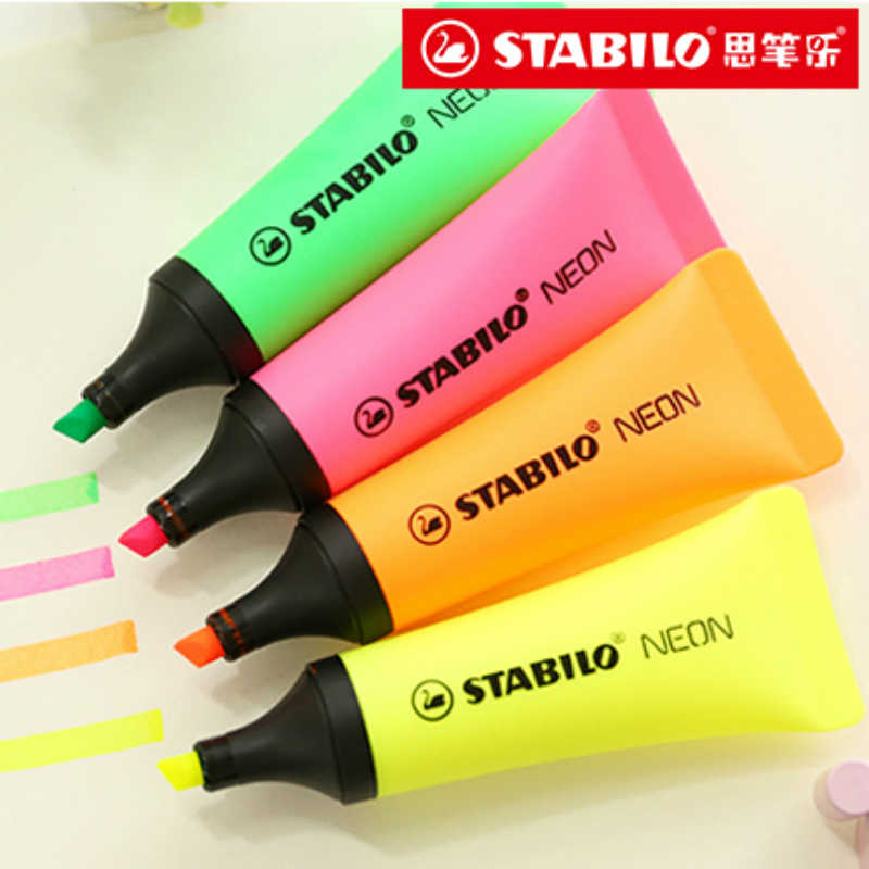 f6d30cd96fc7b 4 colors/set Germany STABILO Marker Pen Highlighter Pen Toothpaste NEON 72#  Oblique Nib Students School Office Stationery