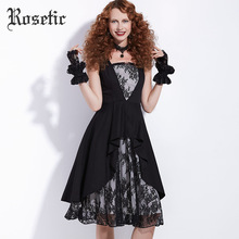 Rosetic Gothic Dress Vintage Lace Print Patchwork Women A-Line Dress Black Party Prom Retro Summer Dark Asymmetrical Goth Dress