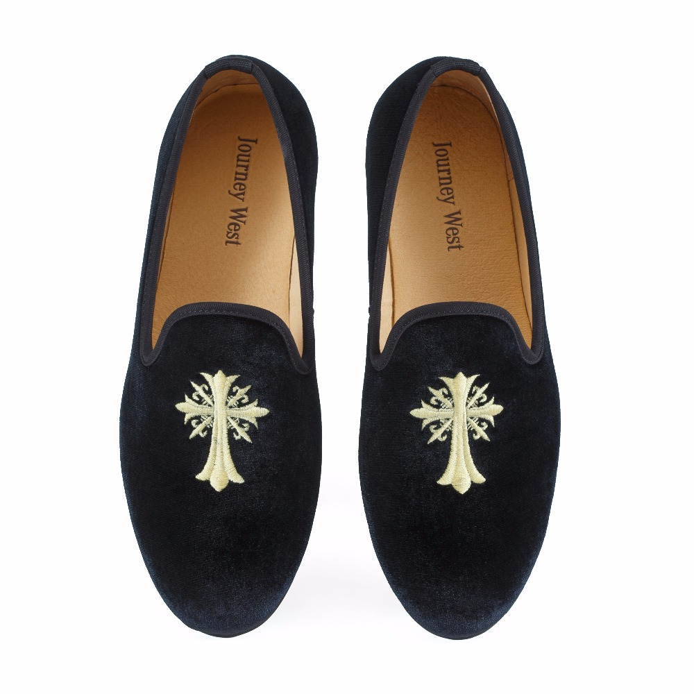 New Handmade Men Velvet Loafers Prom Shoes Embroidery Men Party Dress Shoes Smoking Slipper Fashion Men's Flats Black Size 7-13
