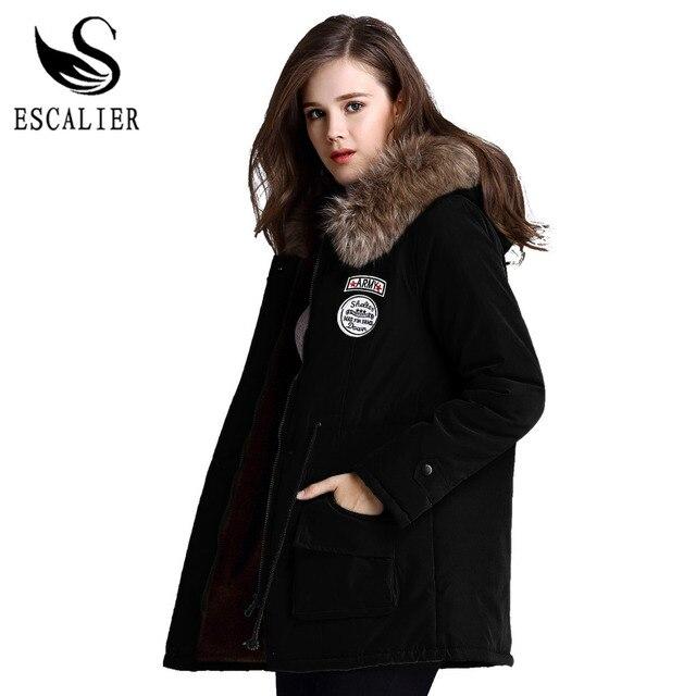 Escalier de pele das mulheres casacos de inverno pele gola do casaco jaqueta grossa quente com capuz parka quente parkas xs-3xl frete grátis