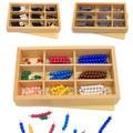 Bebé Juguetes Montessori Multicolor/Gris Del Grano de Cadena de Cadena de Caja de 3 Tipos de Juguetes Educativos Set Enseñanza Matemáticas Juguetes de Madera Niño regalo