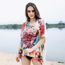 Summer new style Sunscreen womens Sleeve shawl Beach holiday Bikini Suit printing women 90*130cm Swimming pool Cover Up
