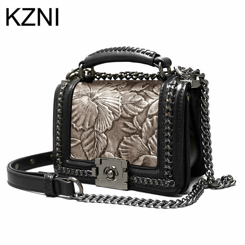KZNI Women Genuine Leather Embossed Bag Luxury Handbags Women Bags Designer Women Leather Handbags Pochette Sac a Main 1968 kzni genuine leather handbag women designer handbags high quality phone bag purses and handbags pochette sac a main femme 9022