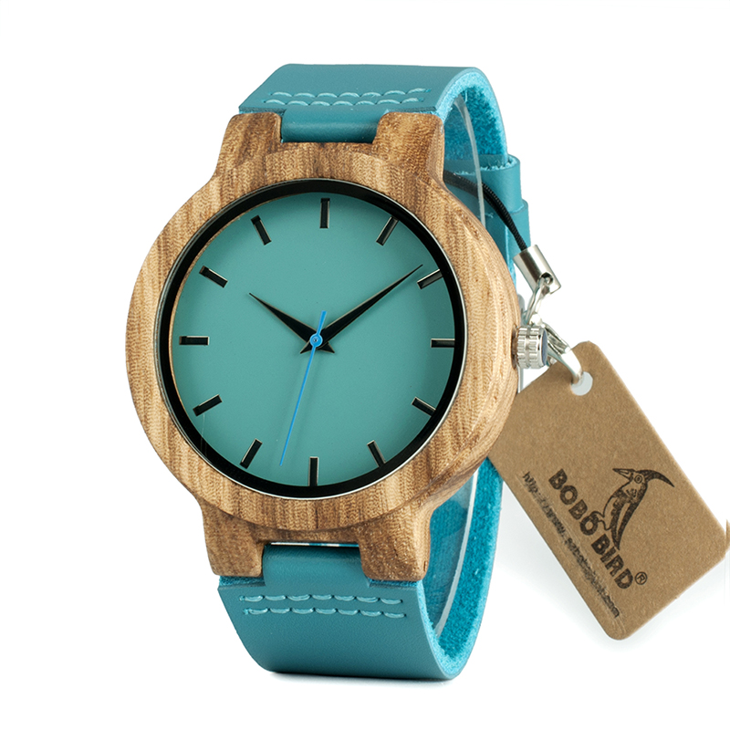 Blue Leather Band Wood Watch