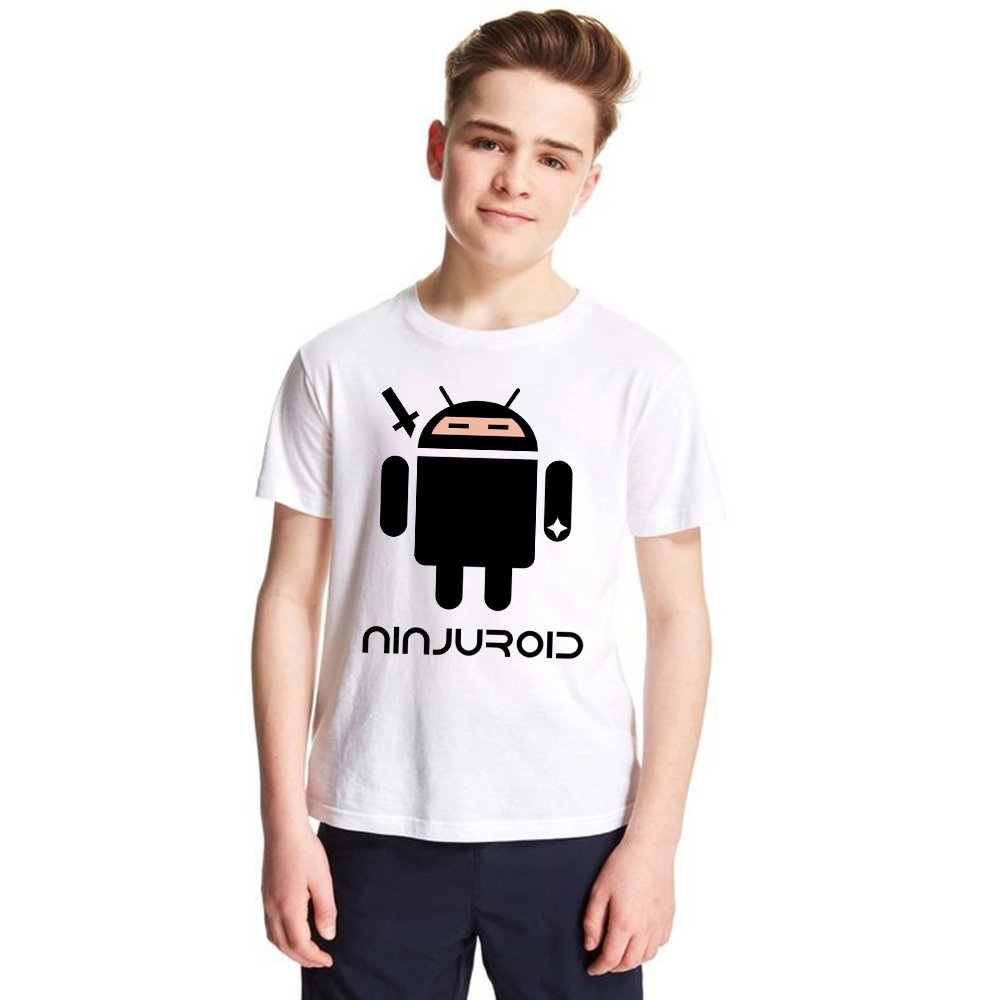kids t-shirt Ninja Android Robot boys girls funny tshirt Apple Humor Logo t shirt for teen child unisex casual tops tees clothes