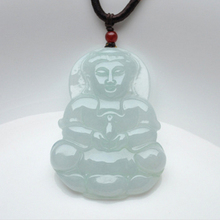 Natural Myanmar A cargo jade carved auspicious Guanyin pendant necklace pendant fashion jewelry for men and women free shipping natural a cargo emerald dragon wh0480 pendants genuine myanmar jade antique pendants men and women models 65 40 7mm