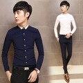 2016 blanco y oro camisetas para Mens Camisa sociales Slim Fit camisas De la boda vestido Vetement De Luxe Homme camisas coreanas Psg oficina