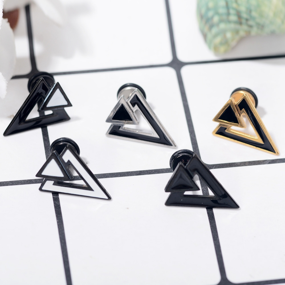 1 Pair Fashion Jewelry Charm Punk Geometric Triangle Inlay Women Stud Pierced Earrings