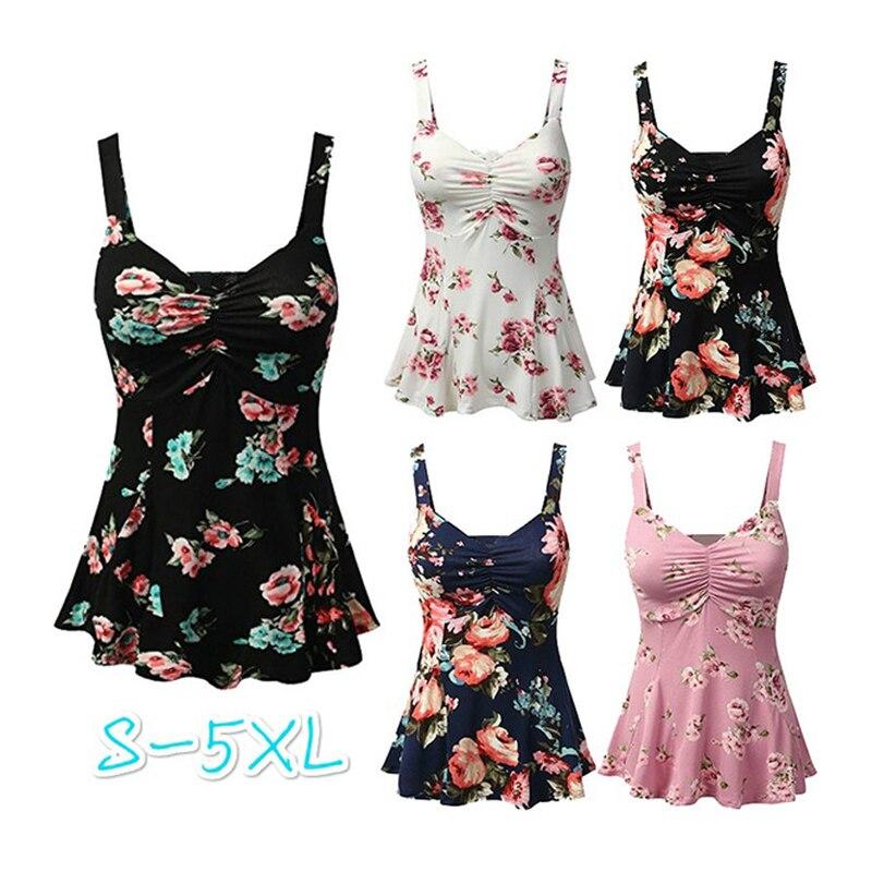 81e9dc31fe Camisa blusa Sem Mangas Mulheres Verão Floral Solto Camisa Casual Tops Blusas  Femininas 2018 Plus Size S-5XL
