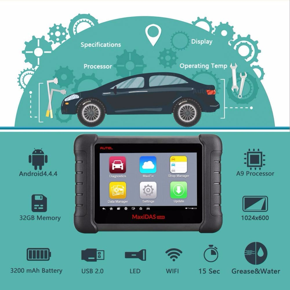 Autel Maxidas DS808 OBD2 Automotive Car Diagnostic Tool OBDII Scanner Code Reade