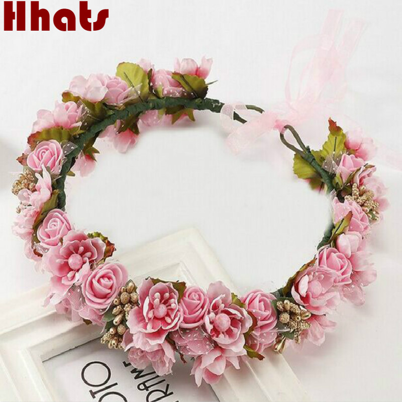 Handmade artificial flower women girl princess crown headband wedding bridal fabric floral veil hair decoration wreath garlands