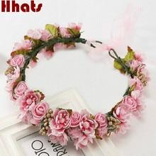 Handmade artificial flower women girl princess crown headband wedding bridal fabric floral veil hair decoration wreath garlands
