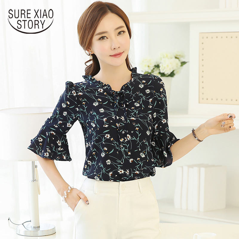 2020 new fashion summer casual thin short-sleeved women blouse flare sleeve Printed sweet elegant Pure Chiffon Shirt tops 31J 25