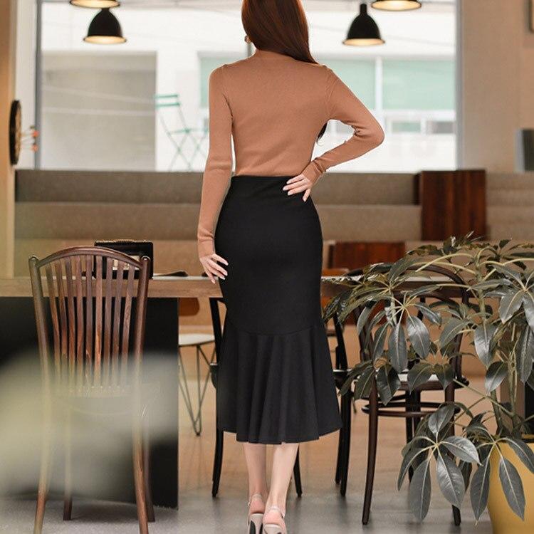 Ensemble 2 pièces femmes costume 2017 automne manches longues évider chemise hauts Blouse et noir volants jupes haut court et jupe Vestidos - 6