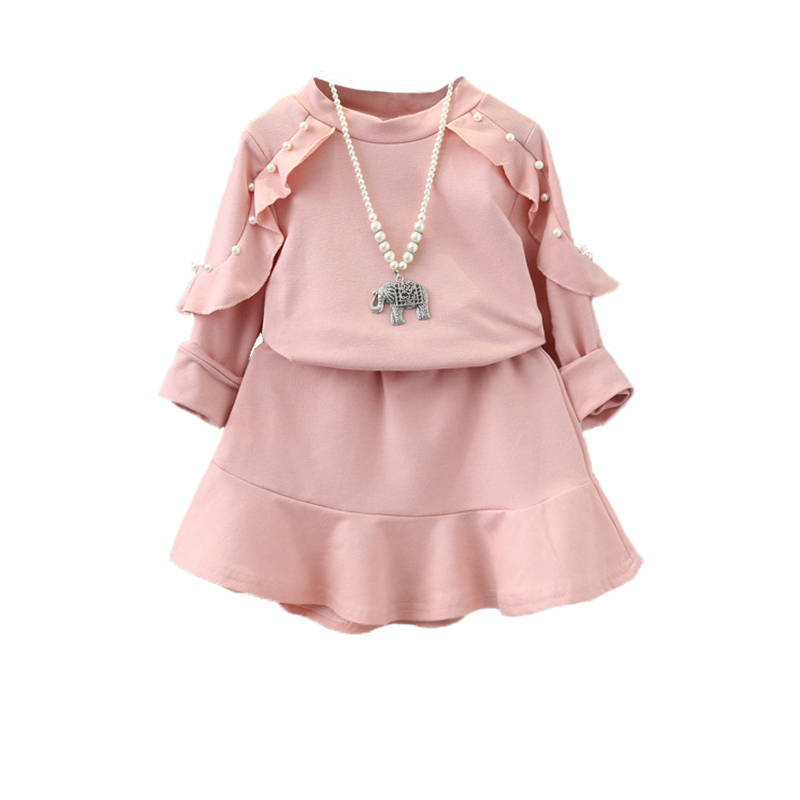 High quality girls pink jersey clothes set autumn winter clothing sets 2 pcs full sleeve ruffles Mla winter style fashion set