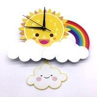 Children Room Decals Cartoon Clock The sun ,cloud and Rainbow DIY Silent Clock Bedroom Wall Decals Digital Watches