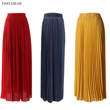Pleated Maxi Long Skirt High-Waisted Crinkle Stretch Chiffon Muslim Half Dress Dubai Islamic Muslim Women Oversize(China)