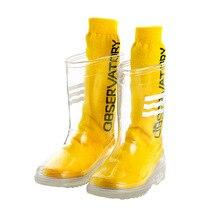 Сапоги детские резиновые, прозрачные, из ПВХ, мягкие, высокие, водонепроницаемая обувь для девочек и мальчиков, для студентов