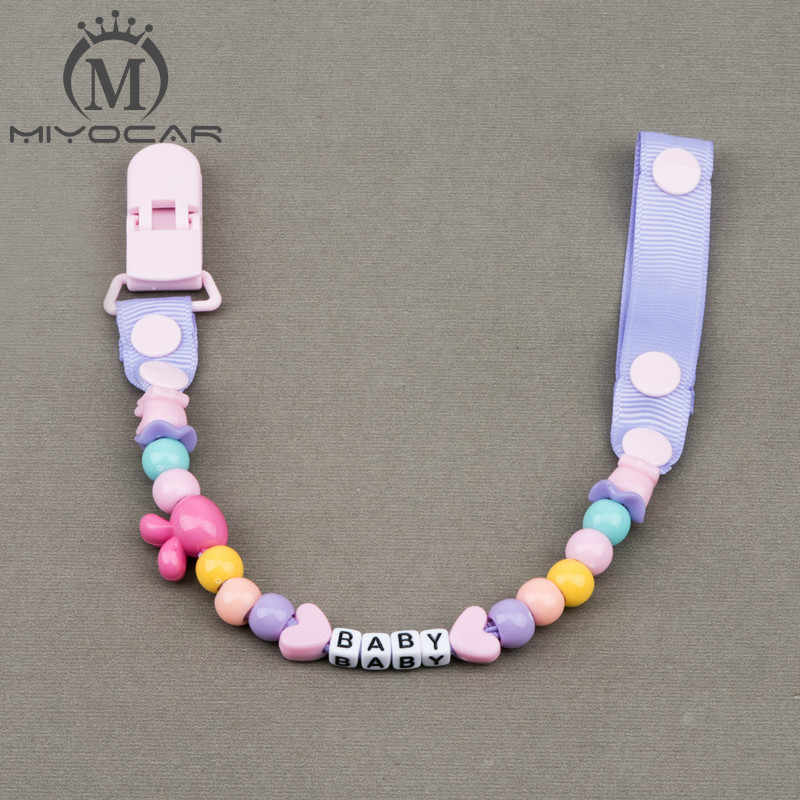 MIYOCAR personalizado-cualquier nombre hecho a mano funnyr rose red beads dummy clip dummy holder chupete clips chupete cadena para bebé
