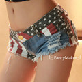 American flag jeans shorts women summer denim shorts girls sexy jeans shorts jeans hole print pocket clubwear mini jeans shorts