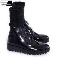 Итальянские дизайнерские мужские Нескользящие зимние ботинки на платформе, байкерские ботинки из натуральной кожи на шнуровке, обувь для п