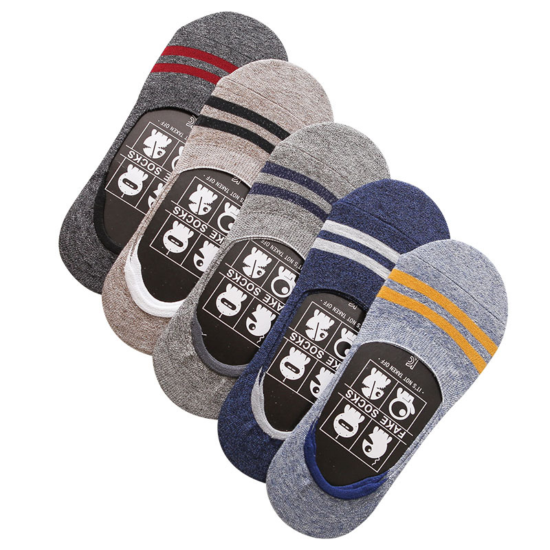 5 Pairs/Lot Men's Socks Summer New Non-slip Silicone Invisible Cotton Men Socks Male Ankle Socks Causal No Show Sock Meias