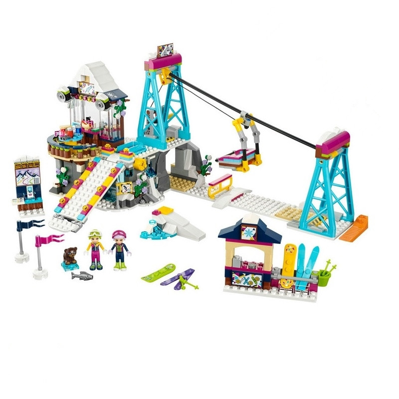 632pcs diy Compatible with playmobil Friends Building Blocks Bricks Snow Resrot Ski Lift toys For Children girls birthday gifts