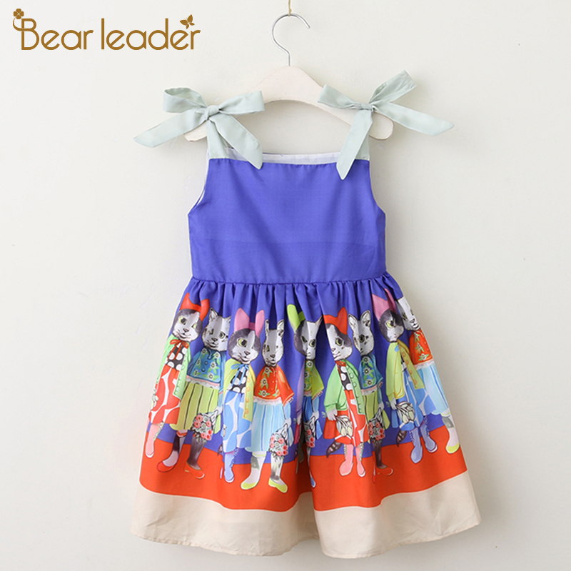 Фото Bear Leader Girls Dresses 2018 New Summer Fashion Princess Cat Pattern Bow Lovely Sleeveless Party Girls Dresses For 3-8 Years