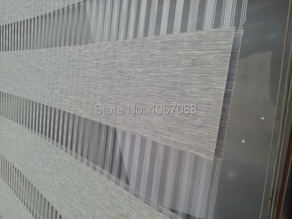 100% polyester linen grey eco friendly translucent zebra blinds curtains for living room 31in*48in 5 colors H05 003