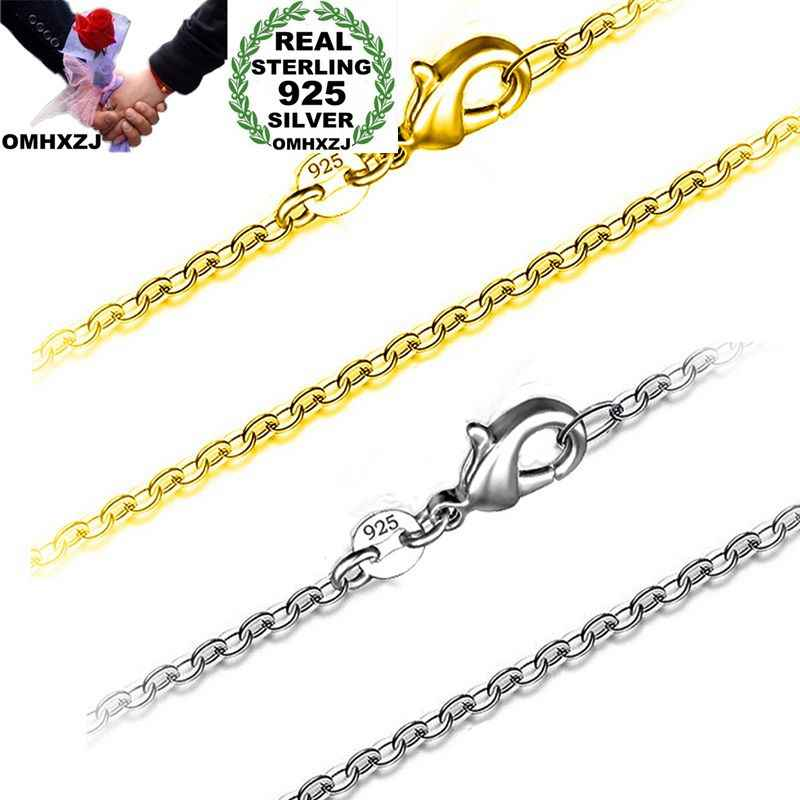 OMHXZJ Wholesale Personality Fashion OL Woman Girl Party Wedding Gift 1MM Cross Chain 925 Sterling Silver Chain Necklace NC192